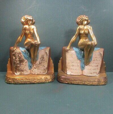 "Bookends Kronheim & Oldenbusch (K&O) bronze metal nude lady 7.75"" 7lbs ᵇ C6"