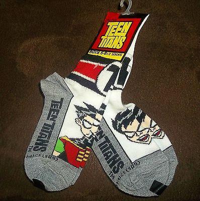 NEW Cartoon Network TEEN TITANS ROBIN Socks 2 pr LOT Sz 6-8.5 / Shoe Sz 6-11.5](Robin Socks)