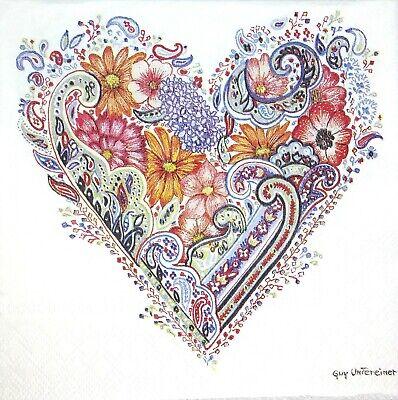 3 x Single Paper Napkins For Decoupage Craft Tissue Blue Heart Love Flowers M201