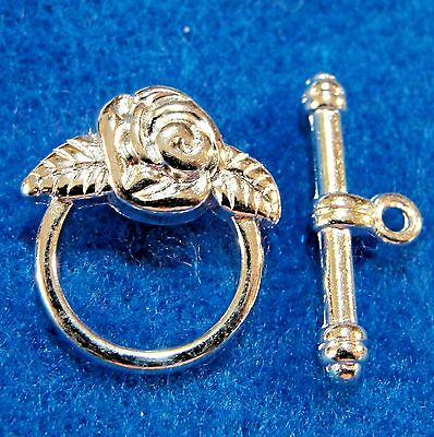 10Sets Silver-Plated FLOWER Toggle Clasp Connector Tibetan Jewelry Finding C276