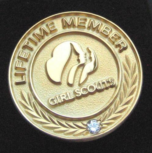Pre-2011 Girl Scout PROFILES LIFETIME MEMBERSHIP PIN Gold Simulated Diamond NEW