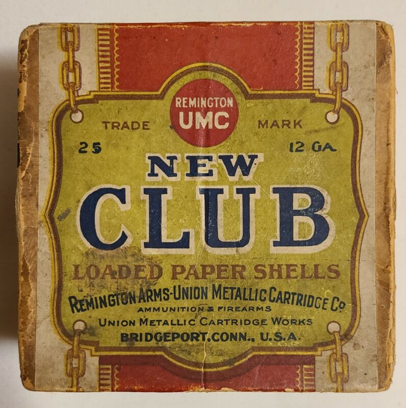 Antique  Remington UMC NEW CLUB 12 Gauge 2 Pc. Shotgun Shell Box - Empty