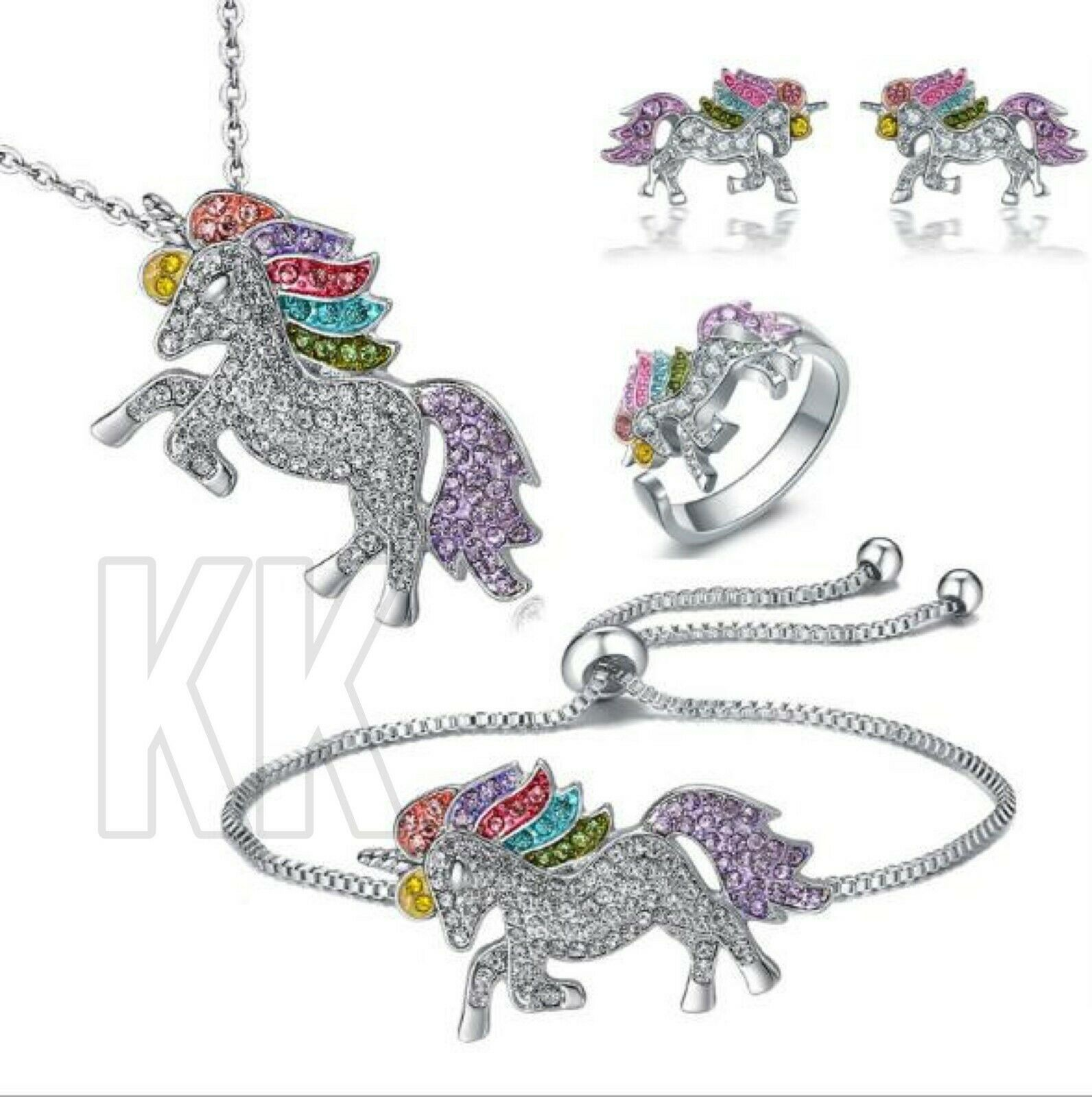 Jewellery - Unicorn Pendant Necklace Chain Flying Horse Kids Girls Jewellery Party Gifts uk