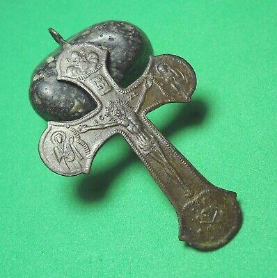 Ancient Bronze Cross Wearable Pendant Antique Rare C186