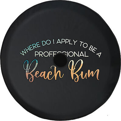JL Spare Tire Cover Professional Beach Bum Summer w/ Backup Camera Hole