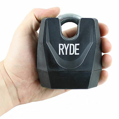 RYDE HEAVY DUTY CLOSED SHACKLE PADLOCK MOTORCYCLE/SCOOTER CHAIN LOCK SECURITY