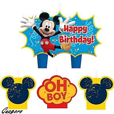 Mickey Mouse Birthday Candle Set Cake Toppers Decorations 4pc Party Supply Favor](Mickey Mouse Birthday Cake Decorations)