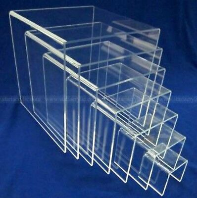 7 Piece Set Of Clear Acrylic Display Risers 2 3 4 5 6 7 8 Inch Square