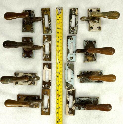 Set of 8 Antique Bronze Brass Window Hardware Latch Sets