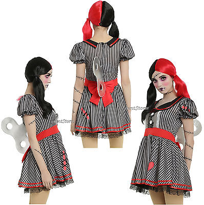 Wind Up Key Costume (Pretend Wind-Up Doll Cosplay Costume Dress W/3D foam key Black & Grey Striped)