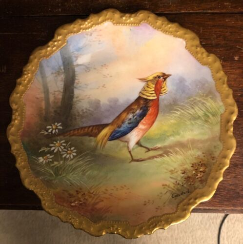 Antique Signed Limoges Game Plate Charger Chinese Pheasant Hand Painted Daisy