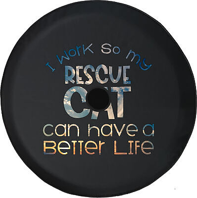 Spare Tire Cover Work for Rescue Cat Better Life Camera Hole for Jeep JL