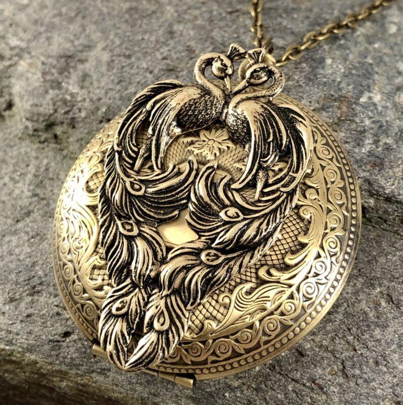 Lrg Peacock Bird Locket Necklace, Antique Brass QUALITY VICTORIAN CHRISTMAS GIFT