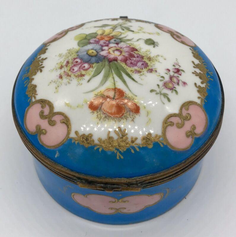 Antique Sevres Style French Porcelain Handpainted Gilt Dresser Box w/ Flowers