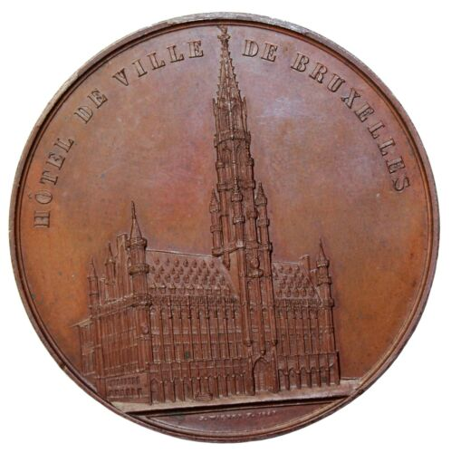1849 Belgium Brussels City Hall Hotel De Ville Architectural Medal By J. Wiener