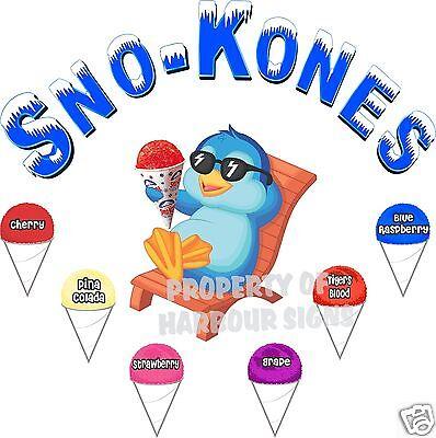 Sno-kones Flavors Decal 14 Snow Cones Shave Ice Concession Food Truck Sticker