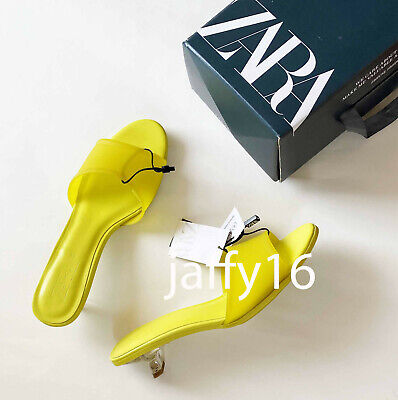 ZARA NEW WOMAN RUBBERISED KITTEN-HEEL SANDALS YELLOW 35-42 3307/510