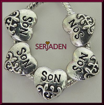 5 Son Design Heart Spacer Charms Beads European Style 11 x 11 mm& 5 mm Hole S012