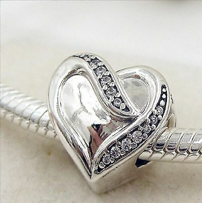 Authentic Pandora Silver Charm Bead Ribbon of Love Heart 791816CZ