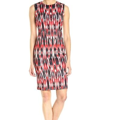 Calvin Klein NWT Fire Red Multi Modern Scuba Fabric Sheath Dress Women's size 10 ()