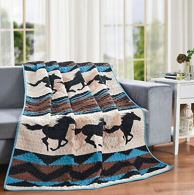 QUILT THROW BLANKET SOUTHWEST WILD HORSE 50