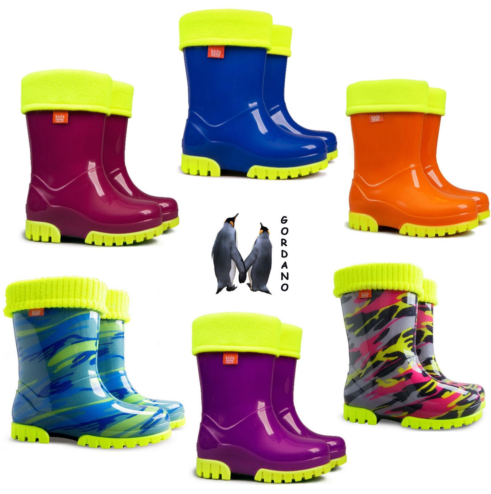 bambini ragazzi Stivali in gomma Wellington da pioggia neve fluorescente neon