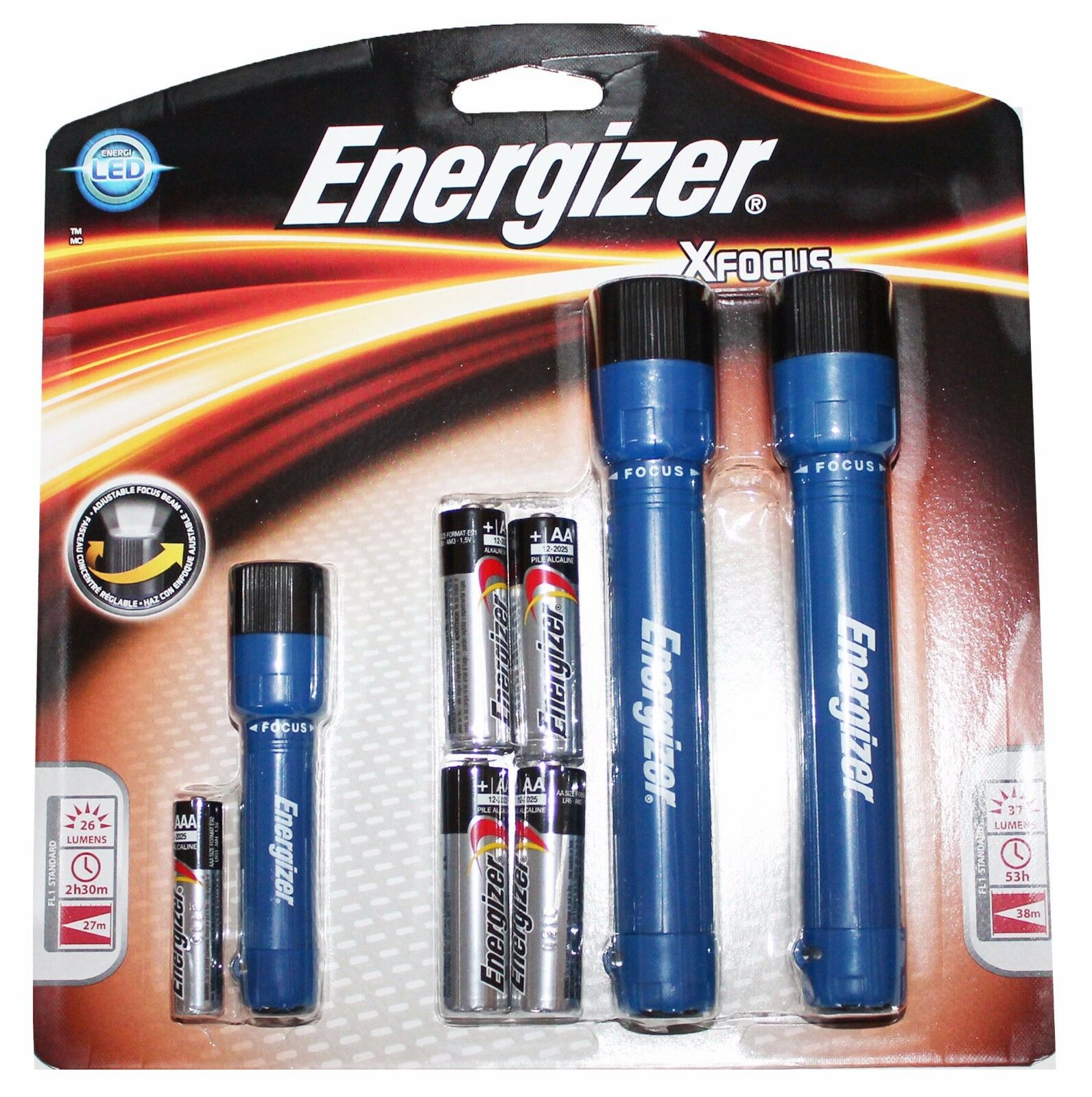 3pk xfocus led flashlights lights batteries included