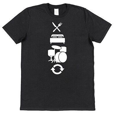 EAT SLEEP DRUM REPEAT Men's Cotton T-Shirt Drums Drummer Musician Present Gift - Eat Sleep Drum