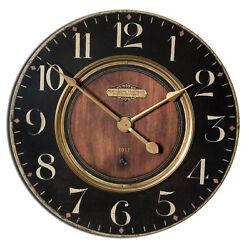 Luxe Dark Classic Brass Wall Clock Wood Look 30ß | Retro Vintage Style Round