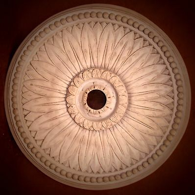 "19"" Victorian Sun Flower Bead Reproduction Classical Plaster Ceiling Medallion"