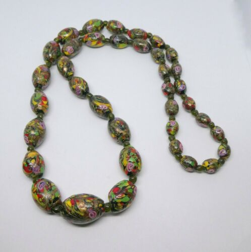 Fabulous Long Matched Venetian Glass Bead Necklace - Aventurine and Roses