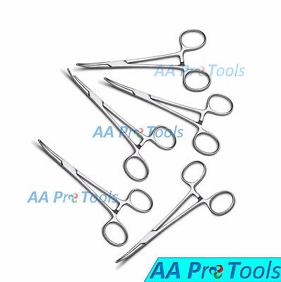 Aa Pro Set 5 Kelly Forceps Curved Veterinary Surgical Locking Tweezers Pliers