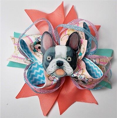 FRENCH BULLDOG STACKED BOUTIQUE HAIR BOW-GIRLS HAIR ACCESSORIES- HANDMADE  - French Bulldog Accessories