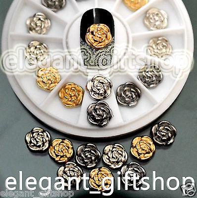 #EJW_13 Glitter Alloy Nail Art Decoration Metallic Gold Silver Black Rose+ Wheel