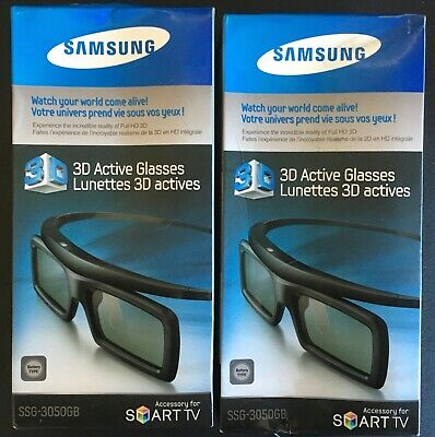 Two (2) Pairs NIB Samsung 3D Active Glasses SSG-3050GB for Smart TV *SEALEDINBOX