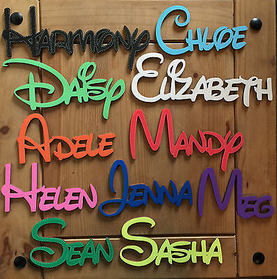 DISNEY Personalised Wooden Name Plaques Words Letters Wall Door Art craft Sign