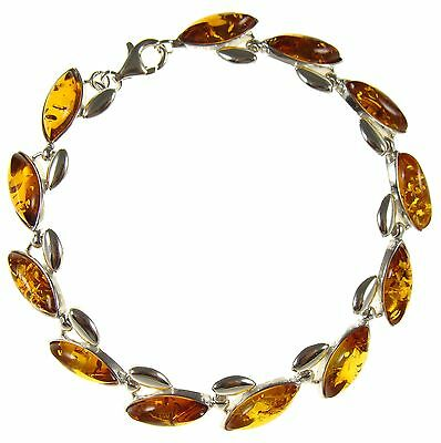Baltic Amber And Sterling Silver 925 Women's Designer Bracelet Jewellery Jewelry