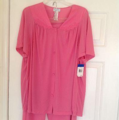 Vanity Fair Nylon Two Piece Pink Pajama Set Size Small