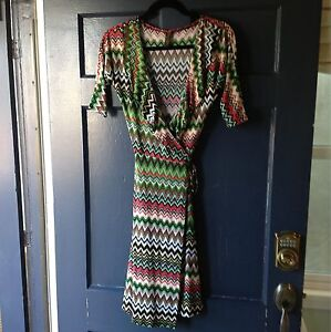 Jantie-Design-Missoni-Inspired-Green-Multi-Print-Wrap-Dress-NWOT-Size-L