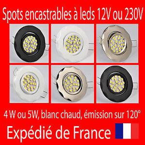 SPOTS à LEDS ENCASTRABLES 12V 220V NOIR BLANC ARGENT avec ou sans