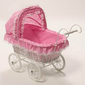 New Wicker White & Pink dolls Pram Carriage pusher stroller 'Alexandra'