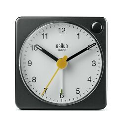 Braun BN-BC2XBW Black White Square Quartz Alarm Classic Travel Clock
