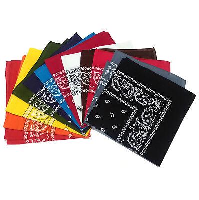 NEW Paisley Print Cotton Bandana Head Wrap Scarf Headband 12 Colors + Dozen Pack - Bandana Pack