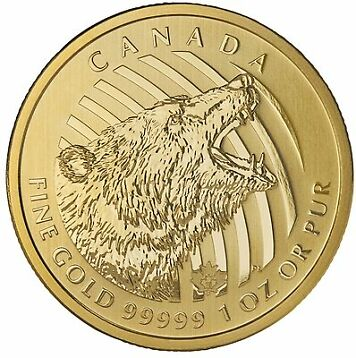 2016 Canadian 1oz Gold Roaring Grizzly Bear .99999 Fine in Assay BU