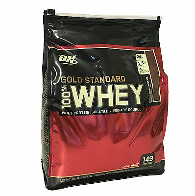 Optimum Nutrition On 100  Whey Protein Gold Standard Double Rich Chocolate 10Lb