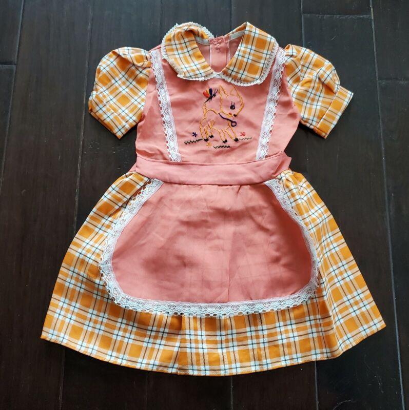 Vtg 70s Pinafore Apron Embroidered Bambi Orange Plaid Lace Prarie Dress NOS