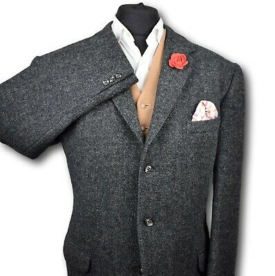 Harris Tweed Tailored Country Grey Blazer Jacket 44R MIDWEIGHT CLOTH 175
