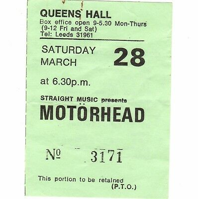 MOTORHEAD & TRUST & LIGHTNING RAIDERS Concert Ticket Stub 3/28/80 LEEDS UK Rare