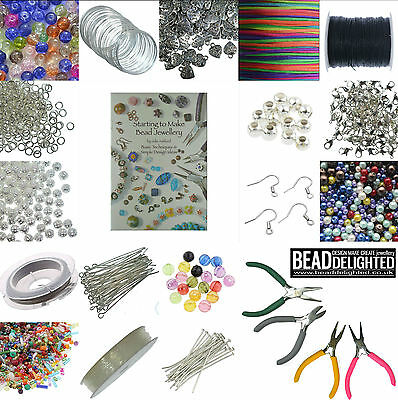 LARGE Jewellery Making Starter Kit Silver Plated Findings Tools Beads Threads