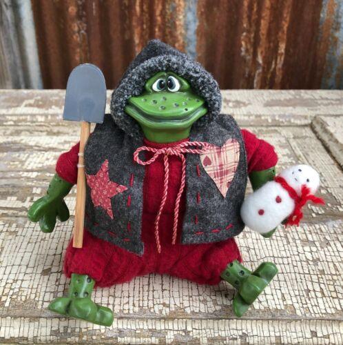 SCOOP Resin Bean Bag Christmas Frog Kathleen Kelly Critter Factory Russ Berrie